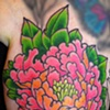 Peony is part of a floral half sleeve, in progress.