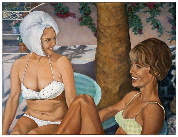 Smiling Girls Poolside