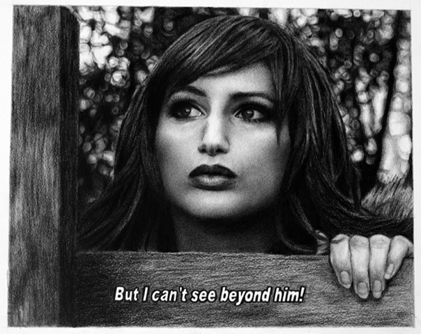 Subtitled Film Still: But I Can't See Beyond Him!