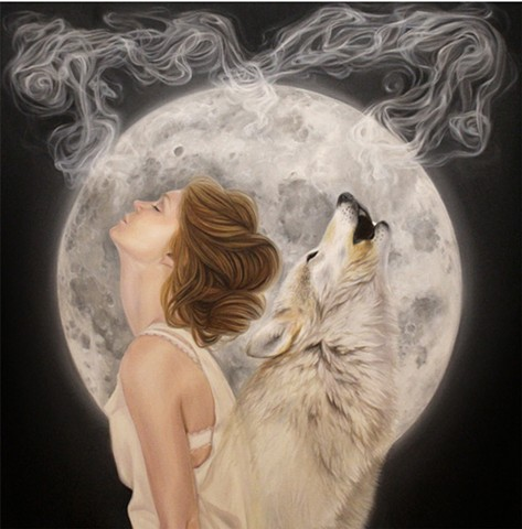 Two Souls Connected woman and wolf