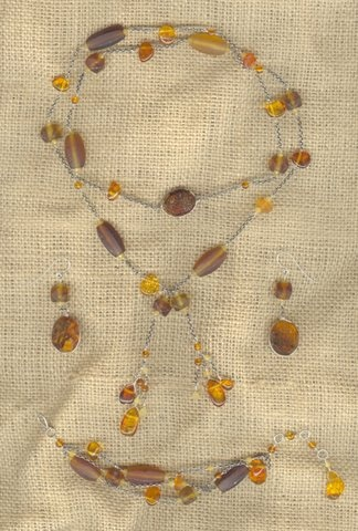 Amber and Glass Lariat Set