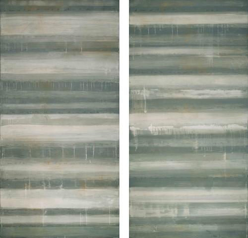 Striation Diptych 72 x 72