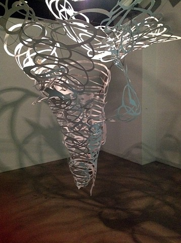 tornado, shadows, light, cut paper