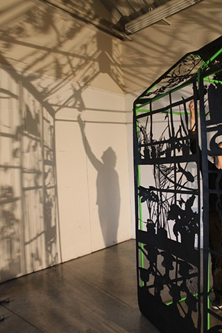 cut paper/ tyvek silhouette, pvc pipe, light and shadow