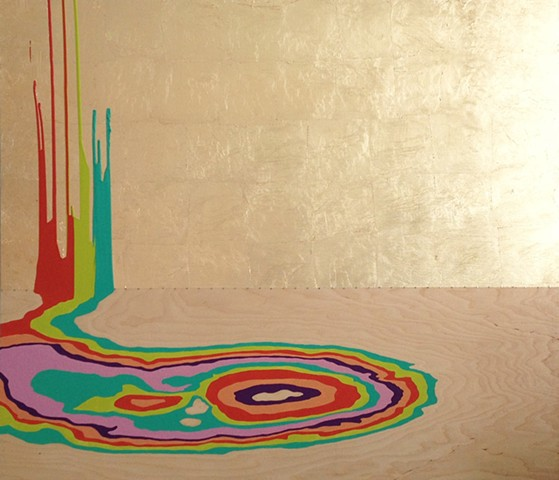Michele Kishita, landscape, abstract, rainbow, gold, painting, acrylic, Japanese, graphic, wood, nails