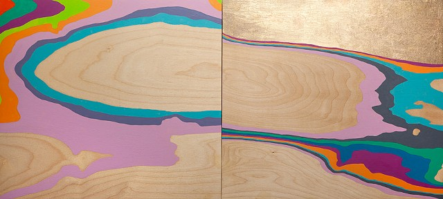 Michele Kishita, landscape, abstract, rainbow, gold, painting, acrylic, Japanese, graphic, wood