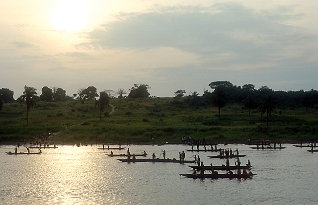 Ferry, River, sunset, village