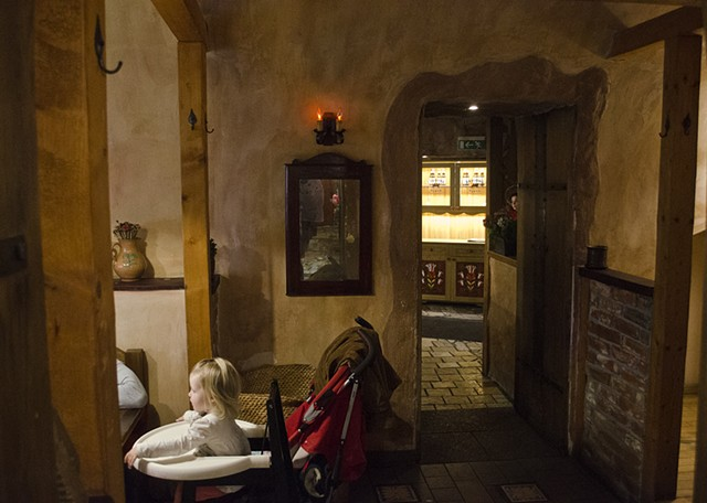 Child, Stroller, Restaurant, Lithuania, Vilnius
