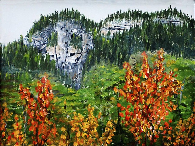 Nature, rock, fall. painting, acrylic