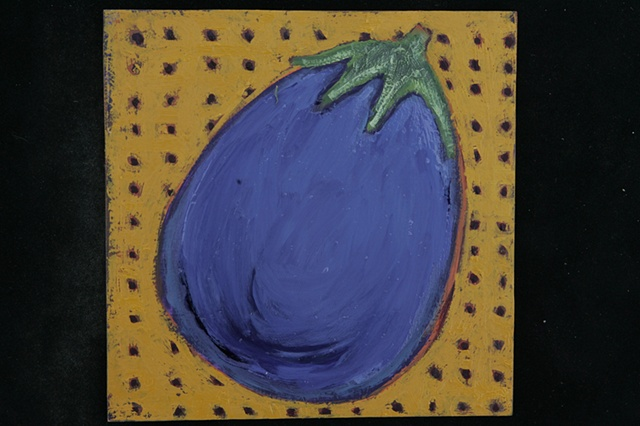 eggplant on yellow