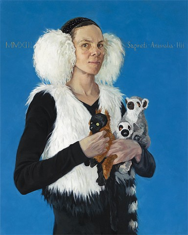 Portrait as a lady holding stuffed animal lemurs based on Holbein