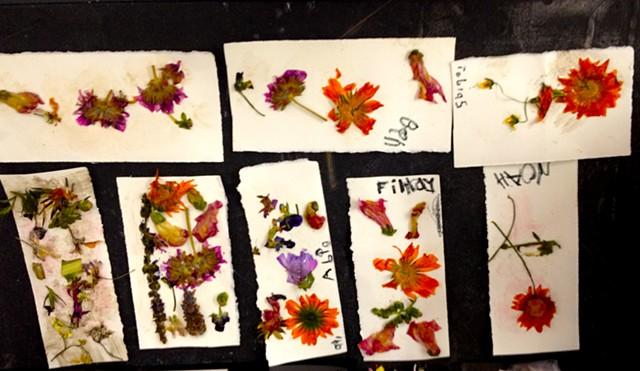 Pressed flower bookmarks.