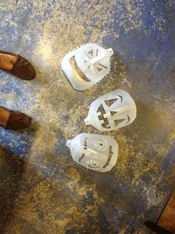 Milk gallon masks.