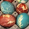 Easter eggs made with natural vegetable dye.