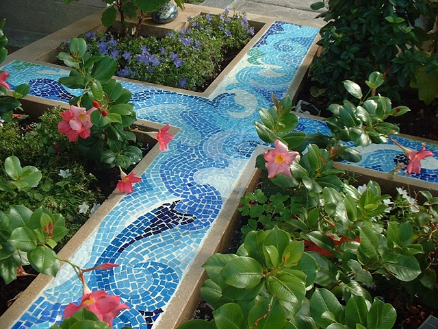 """The finished piece represents water flowing through a Persian garden, or a """"Chahar Bagh""""; Montparnasse Cemetery, Paris, France."""