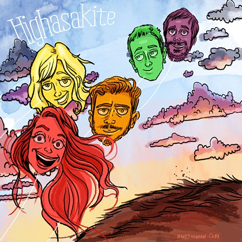illo of band Highasakite for Sessions from the Box!