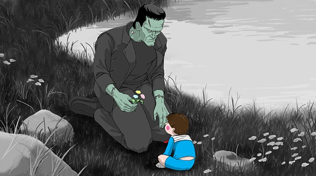 The Monster and the Boy by the Pond