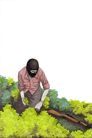 revolution art illustration drawing gun garden