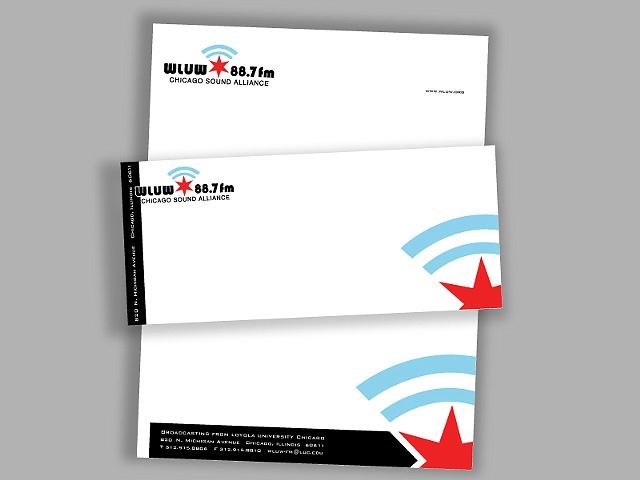 wluw letterhead stationary paper radio chicago graphic design art envelope