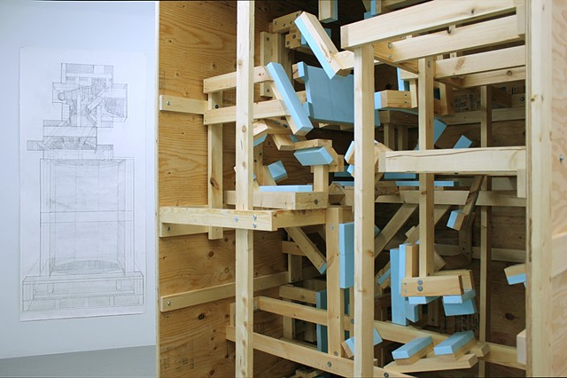 Containerful Installation view: (Crate for Sculpture of Earnest Byner and Crate for Jackie's Bowling Trophy)