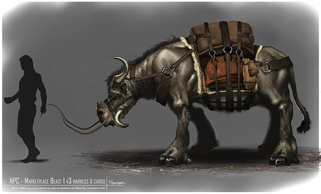 NPC - Market Place Beast 1 w/ Harness & Cargo Creature Concept