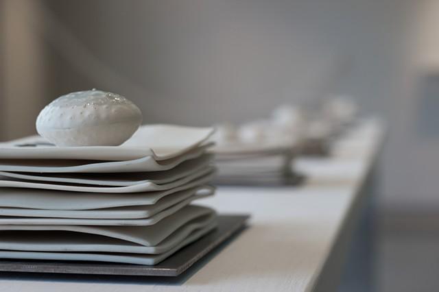 Natalie Shelly - Correspondence I-VI - Porcelain, glaze, slip, IFB, oxide stain and pencil, steel