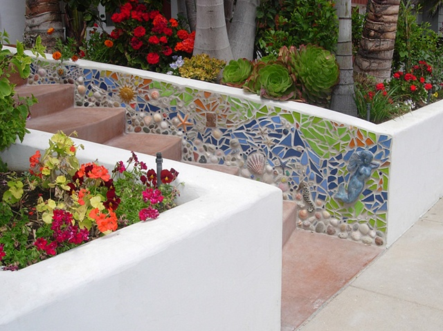 Custom mosaic installation, private residence, Solana Beach, CA