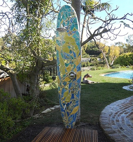 """Kelp Forest"" Custom Surfboard Shower Recycle surfboard, mirror, glass and ceramic"