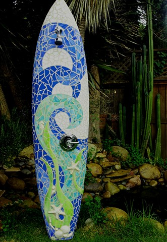 """Wave and Kelp""  Custom Surfboard Shower Recycled surfboard and mirror with glass and ceramic Solana Beach, CA"
