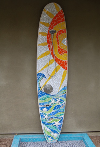 """Whimsical Rays"" Custom Surfboard Shower Recycled surfboard and mirror with glass and ceramic Solana Beach, CA"