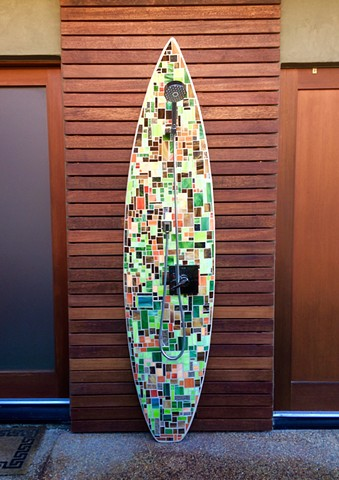 """Klimt"" Custom Surfboard Shower Solana Beach, CA Recycled surfboard with cut glass & mirror"
