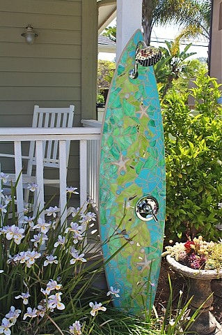 """Seashore"" Custom Surfboard Shower Recycled surfboard and mirror, cut glass, ceramic starfish and shells Solana Beach, CA"