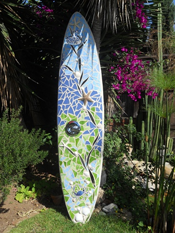 """Blue Point Crab"" Custom Surfboard Shower Recycled surfboard, mirror, glass, shells & starfish Encinitas, CA"
