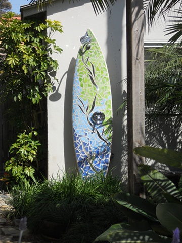 """Argia"" Custom Surfboard Shower Recycled surfboard, mirror & glass Laguna Beach, CA"
