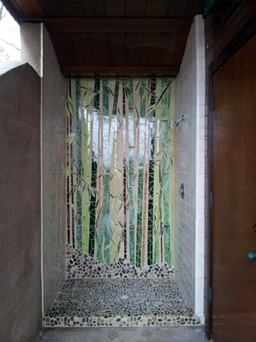 """Bamboo Reflections"" Custom art installation in outdoor shower Glass, recycled mirror and pebble flooring Leucadia, CA"