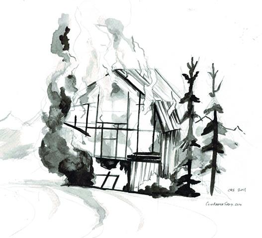 Barn, burned further