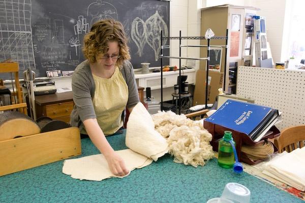Amanda in studio at East Carolina University working on Expectation