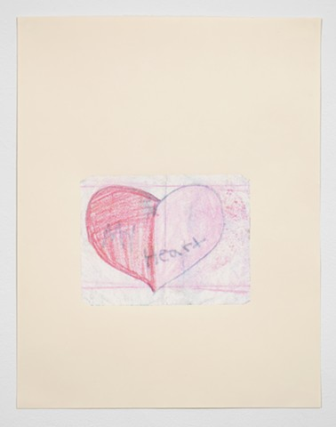 My Heart, 5th grade hearbreak, crayon drawing CMYK Screenprint Manilla Paper, Providence RI