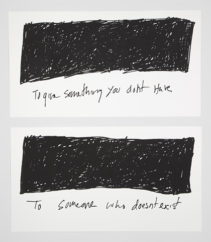 Lacan, Screenprint, on love, something you don't have to someone who doesn't exist, drawing