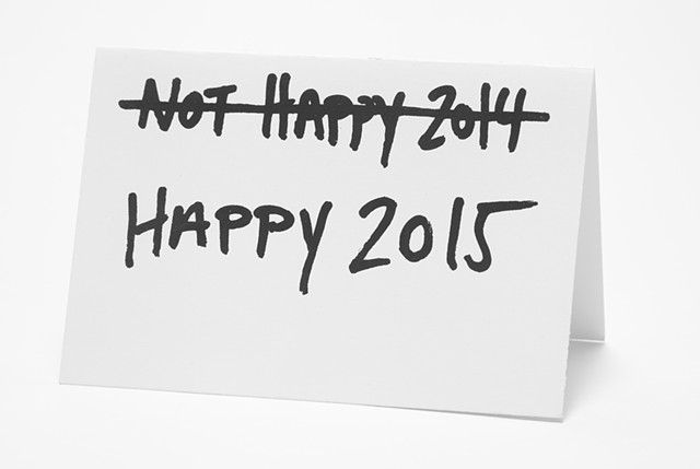 Happy New Years Card, Sharpie drawing, dark holiday card, depressing holiday card, cards