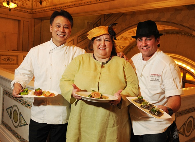 tonya gross millinery for Chef Carrie Nahabedian of Naha with Chefs Yagahashi and Gresh @ Les Dames