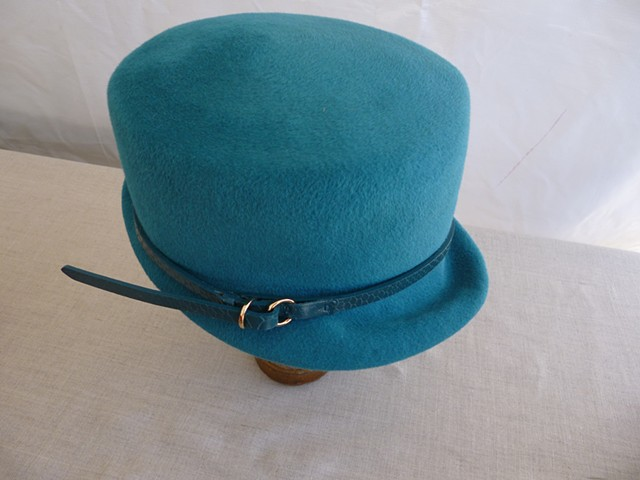 Meredith teal felt cloche by tonya gross millinery