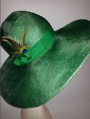 Miranda Bright Green Large Brim Parasisal Straw Hat