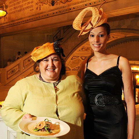 tonya gross millinery on Chef Carrie Nahabedian of Naha and Angela @ Les Dames 2010 Fashion Plate Event