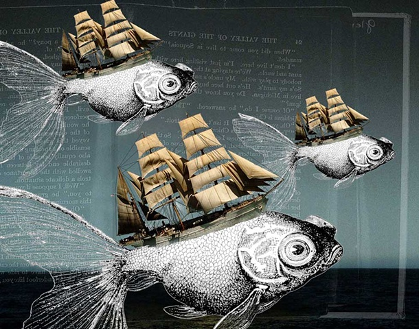 Pop Surrealism mixed media collage images. Fish Head sailing ships.