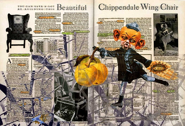 Pop Surrealism mixed media collage image text image Apples Mixed Media Collage Portrait.