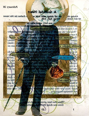 Pop Surrealism mixed media collage image text image Clockhead Mixed Media Collage Portrait