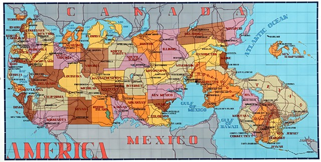 America (Key Map of States and their Capitols)