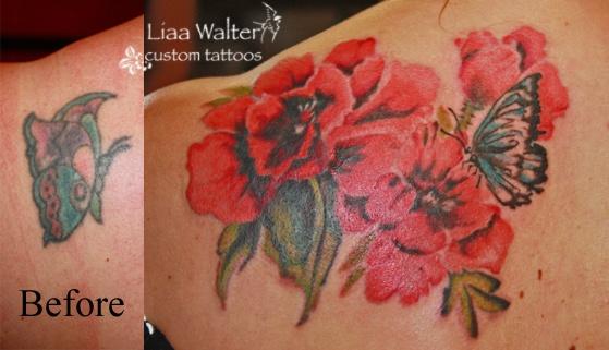 watercolor poppies butterfly custom tattoos Liaa Walter