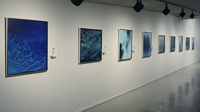 Cameraless, underwater photograms created in the Colorado River, exhibited at the Tucson Museum of Art 2016